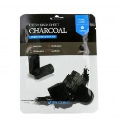 Маска тканевая с древесным углем 3W Clinic Fresh Charcoal Mask Sheet 23g